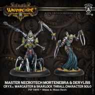 master necrotech mortenebra and deryliss cryx warcaster and skarlock thrall character solo
